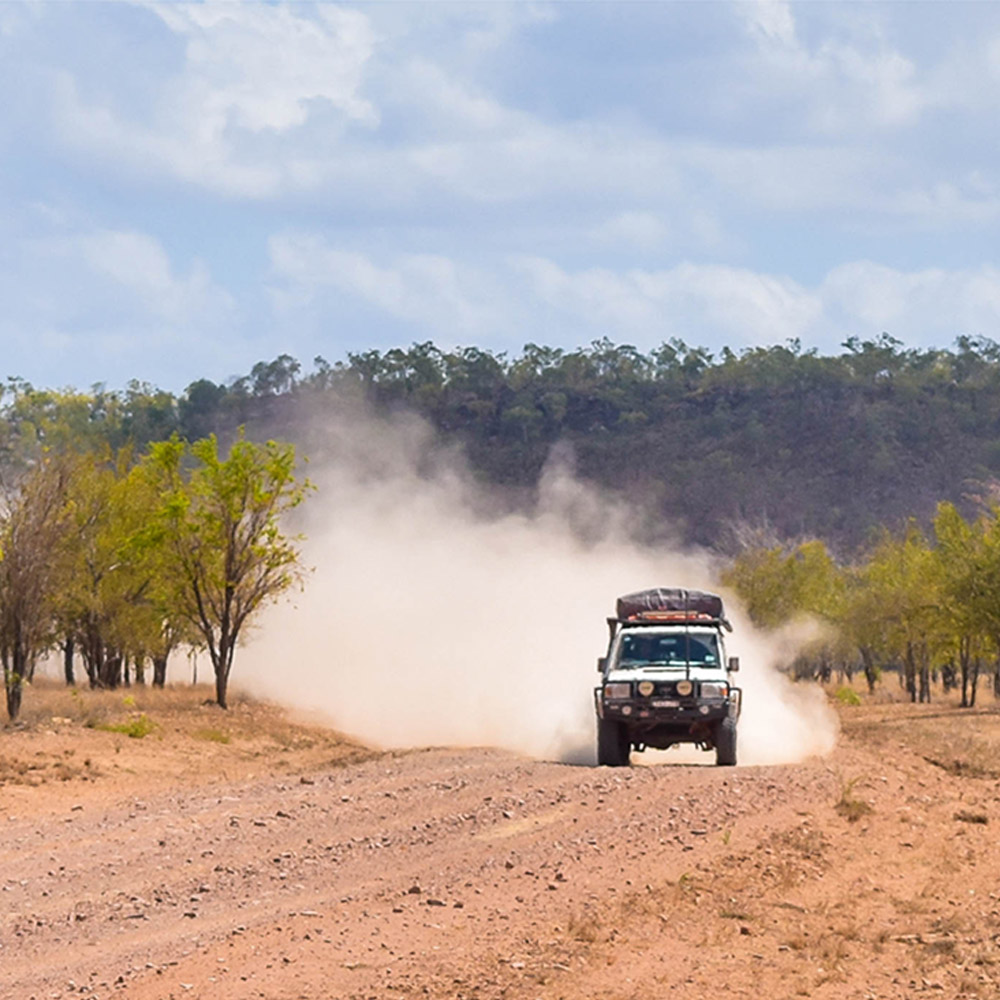Trailing dust while off roading
