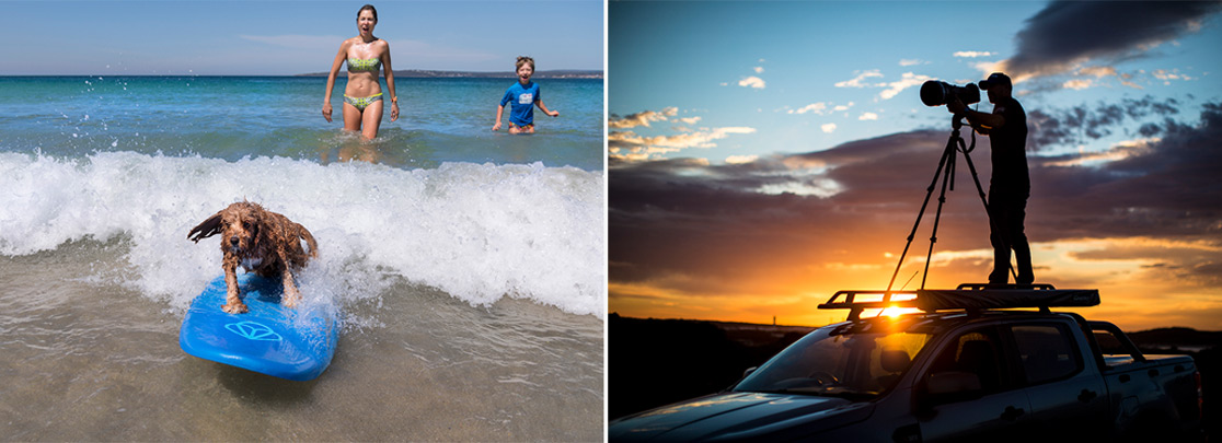 (left) Beach (right) sunset photography on the Pioneer
