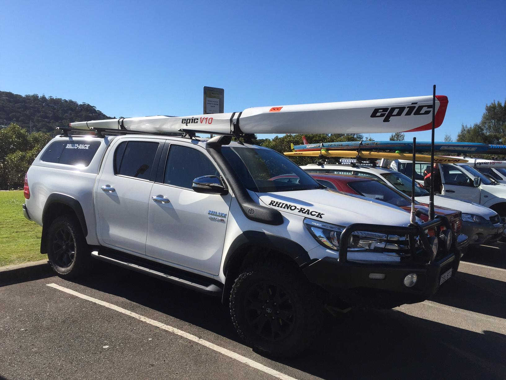 Racing kayak on Toyota Hilux roof